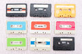 Set of 9 tape cassets Stock Photos