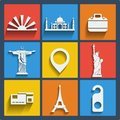 Set of 9 travel web and mobile icons. Vector. Stock Photography