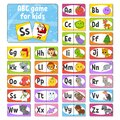 Set ABC flash cards. Alphabet for kids. Learning letters. Education developing worksheet. Activity page for study English. Color Royalty Free Stock Photo