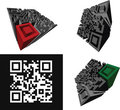 Set Of Abstract 3D  QR-code Royalty Free Stock Photo