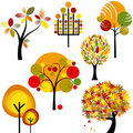 Set of abstract autumn tree Royalty Free Stock Images