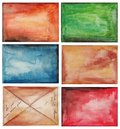 Set of abstract backgrounds artistic work watercolors on paper Royalty Free Stock Images