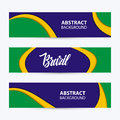 Set of abstract backgrounds in Brazilian flag colors. Handwritten word Brazil. Royalty Free Stock Photo