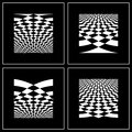 Set of abstract backgrounds in op art style. Stock Images