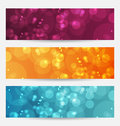 Set of abstract banners with bokeh effect Royalty Free Stock Images