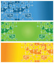 Set of abstract banners with social media icons Stock Photo