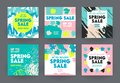 Set of Abstract Banners for Social Media Marketing. Spring Sale Offer for Shop or Discounter, Shopping Posters in Simple Style