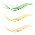 Set of abstract color wave smoke transparent green wavy design