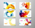 Set of abstract colorful splash and circle gift cards. Royalty Free Stock Photo