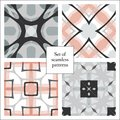 Set of abstract decorative seamless patterns vector illustration may be used for design fabrics prints backgrounds wrapping covers Royalty Free Stock Images