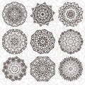 Set of abstract design element. Round mandalas in vector. Graphic template for your design. Decorative retro ornament. Hand drawn Royalty Free Stock Photo