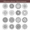 Set of abstract design element. Round mandalas in vector. Graphic template for your design. Decorative retro ornament. Hand drawn