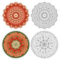 Set of abstract design elements. Round mandalas in vector. Royalty Free Stock Photo