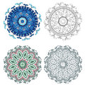 Set of abstract design elements. Round mandalas in vector. Graphic template for your design. Royalty Free Stock Photo
