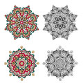 Set of abstract design elements. Round mandalas in vector. Graphic template for your design Royalty Free Stock Photo