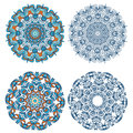 Set of abstract design elements. Round mandalas in vector. Graphic template for your design. Decorative retro ornament. Royalty Free Stock Photo