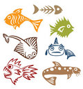 A set of abstract fish Royalty Free Stock Photography