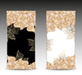 Set abstract floral banners with flowers shells se seaweed in nacre beige black white gold colors hand draw Stock Image