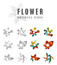 Set of abstract flower logo business icons created with overlapping colorful waves and swirl shapes Royalty Free Stock Image