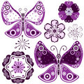 Set abstract flowers and butterflies Royalty Free Stock Photo