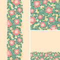 Set of abstract flowers seamless pattern and borders backgrounds this is file eps format Royalty Free Stock Photo