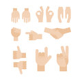 Set of abstract hands. Different gestures, handshake, signals. Icons and symbols