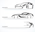 Set of abstract linear car silhouettes monochrome sports vector illustration Royalty Free Stock Photo