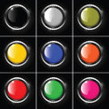 Set of abstract metallic background with round col