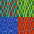 Set of abstract patterns in four color combinations Royalty Free Stock Photo