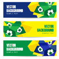 Set of abstract polygon football banners modern in brazilian flag and design illustration background Royalty Free Stock Photo