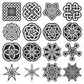 Set of abstract sacred geometry symbols in Celtic knots style
