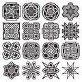 Set of abstract sacred geometry symbols in Celtic knots style.