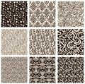 Set of abstract seamless patterns black and white Royalty Free Stock Images