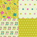 Set of abstract seamless patterns doodle Stock Photography