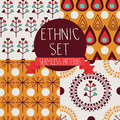 Set of abstract seamless patterns, drop and floral ethnic elements Royalty Free Stock Photo