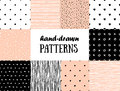 Set of abstract seamless patterns in pink, white and black Royalty Free Stock Photo