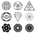 Set of the abstract signs logos and fractals Stock Images