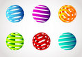 Set of abstract spiral color sphere