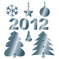 Set of abstract steel Christmas elements. Stock Images