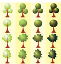 Set of abstract stylized trees. Clip art