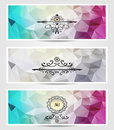 Set abstract triangle banners cyan lilac silver color for advertising something Stock Image