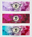 Set abstract triangle banners with girl frame in blue lilac pink colors for advertising something Stock Photo