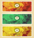 Set abstract triangle banners red gold green yellow color for advertising something Stock Photos