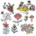 Set of abstract tropical floral elements, yellow paradise bird, cartoon elements. Colorful flowers. Royalty Free Stock Photo