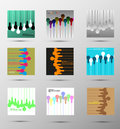 Set of abstract vector backgrounds with lamps