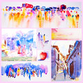 Set of Abstract Water Color Royalty Free Stock Photo