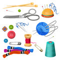Set of accessories for sewing and handicraft. Colorful bobbins Royalty Free Stock Photo