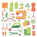 Set of accessories for sewing machines and handmade with dressmaking accessories textile vector. Royalty Free Stock Photo