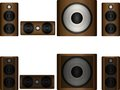 Set of acoustics left right center and subwoofer Royalty Free Stock Image