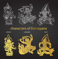 Set action characters of Ramayana,thai tradition style